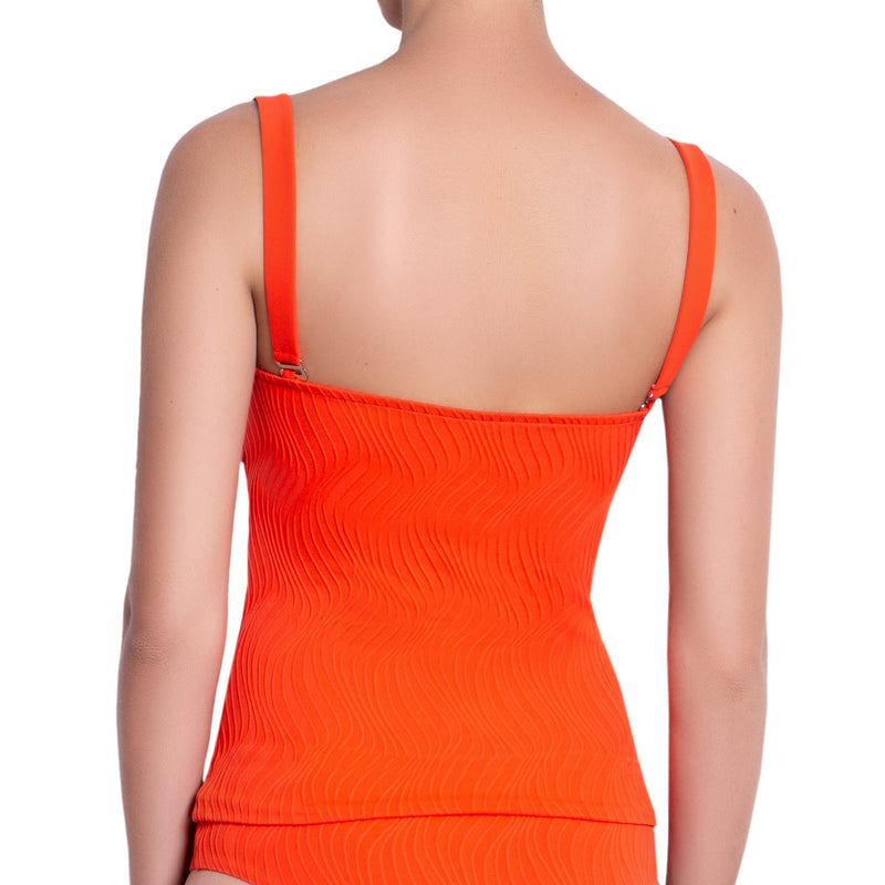 JULIETTE bandeau tankini, textured orange top by ALMA swimwear – back view