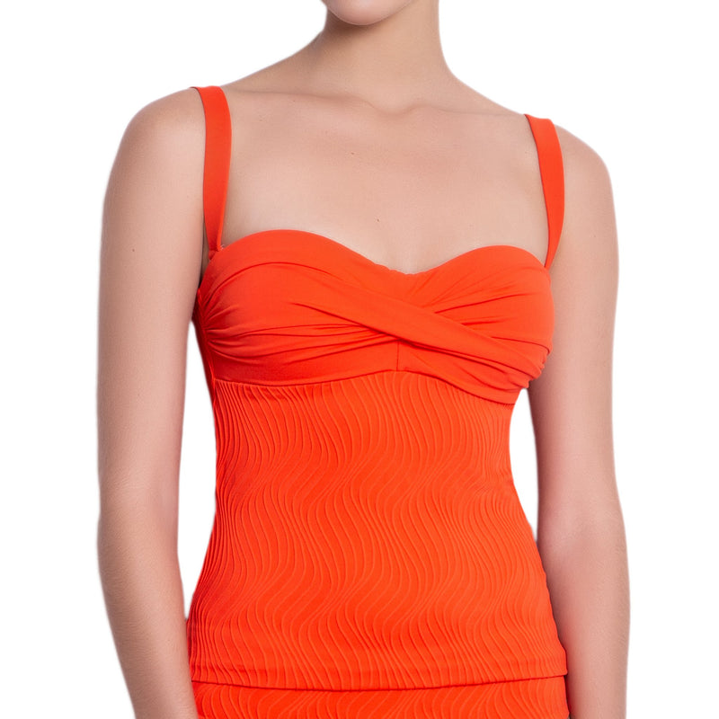 JULIETTE bandeau tankini, textured orange top by ALMA swimwear – front view 3