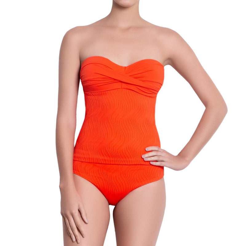 JULIETTE bandeau tankini, textured orange top by ALMA swimwear – front view 4