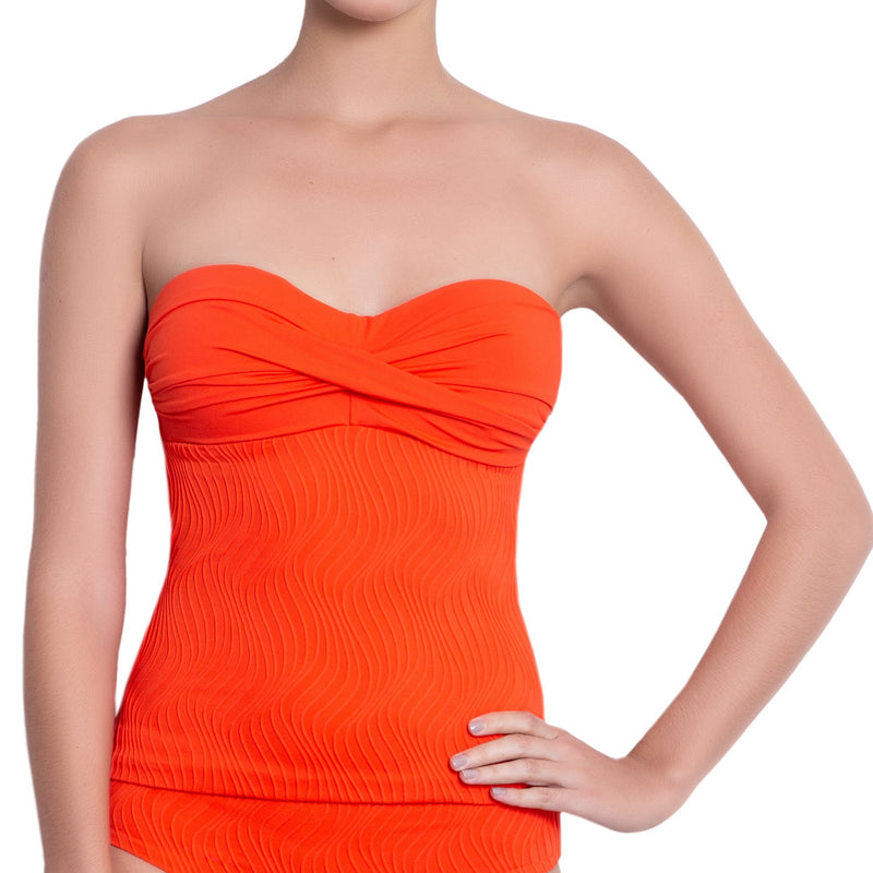 JULIETTE bandeau tankini, textured orange top by ALMA swimwear – front view 2