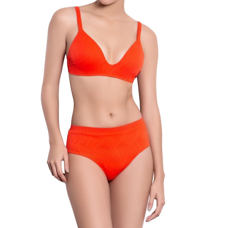JULIETTE bralette bra, textured orange bikini top by ALMA swimwear – front view 1