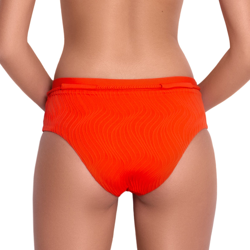 JULIETTE high rise panty, textured orange bikini bottom by ALMA swimwear – back view