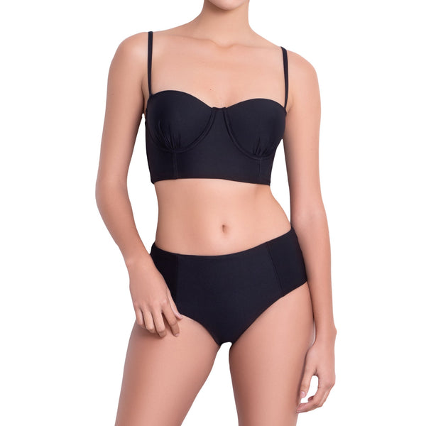 LÉA balconette bra, black bikini top  by ALMA swimwear – front view 1