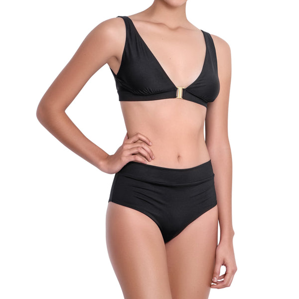 LÉA foldable belt panty, solid black bikini bottom by ALMA swimwear – front view 1