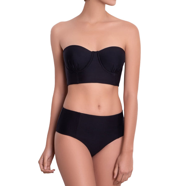 LÉA High rise panty, solid black bikini bottom by ALMA swimwear – front view 1