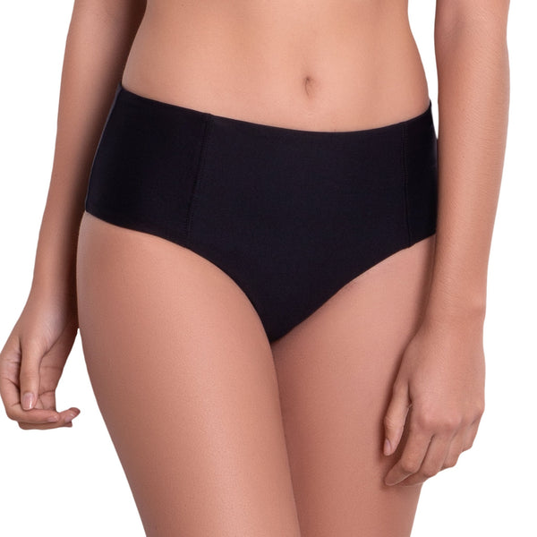 LÉA High rise panty, solid black bikini bottom by ALMA swimwear – front view 2