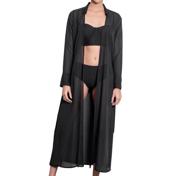 LÉA long shirtdress, black chiffon cover up by ALMA swimwear – front view 1