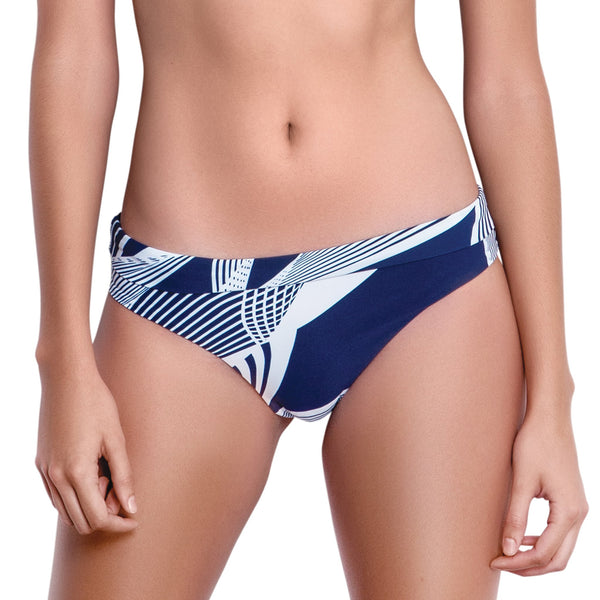 SOPHIE foldable belt panty, printed bikini bottom  by ALMA swimwear – front view 2