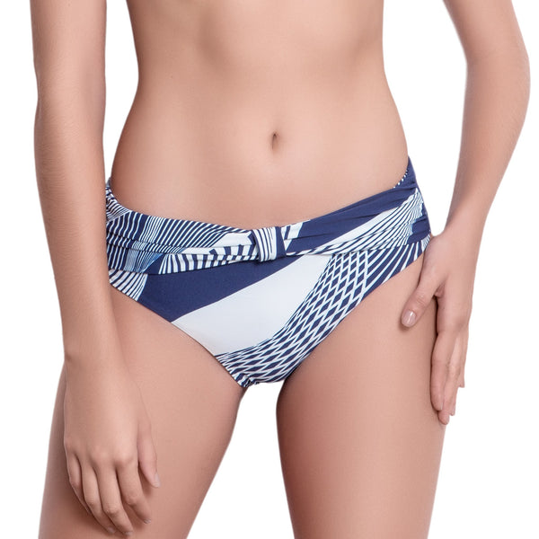 SOPHIE knotted belt panty, printed bikini bottom by ALMA swimwear  – front view 2