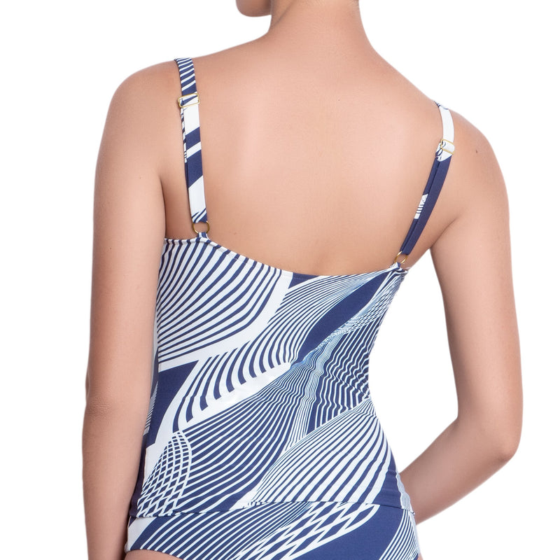 SOPHIE underwired tankini, printed top by ALMA swimwear – back view