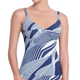 SOPHIE underwired tankini, printed top by ALMA swimwear – front view 2