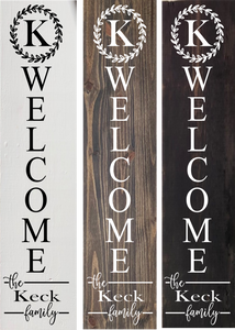 Personalized/Front Porch/4ft tall/Welcome Sign/Last Name/Family/Wood/Leaning/Vertical/Initial/Door/Decor/Home/entryway