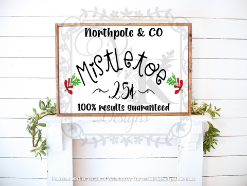 North Pole and Co/Mistletoe/for sale/Christmas/Holiday/Framed Sign/Wall Decor