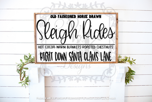 Sleigh Rides/ Right down Santa Claus Lane/Christmas/holiday/Season/Winter/Decor/Sign/Framed/old fashioned