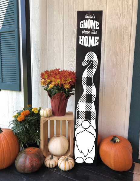 Gnome Place Like Home/4ft/Porch Sign/Wood/Plaid/Front/No/outdoor/vertical/Leaning/One Sided