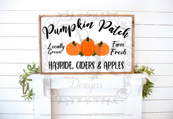 Pumpkin Patch/framed sign/fall/harvest/Halloween/Autumn