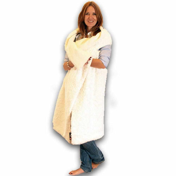 Short Wearable Blanket Naboa - Faux Fur, Cream-White