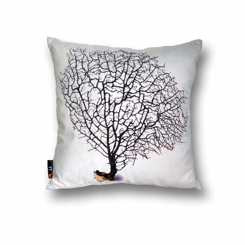 Coral Square Cushion - Black on Cream, 45 x 45 cm