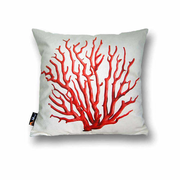 Coral Square Cushion - Red on Cream, 45 x 45 cm