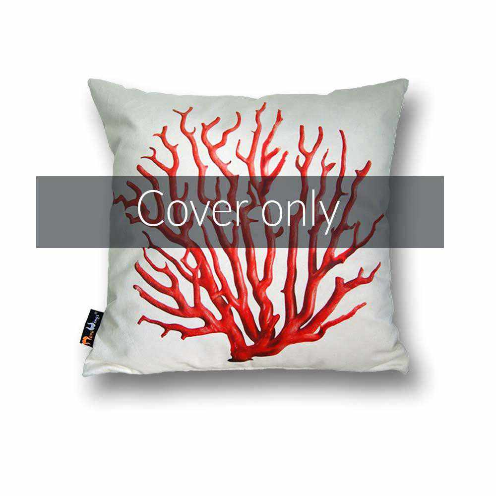 Coral Square Cushion Cover - Red on Cream, 45 x 45 cm