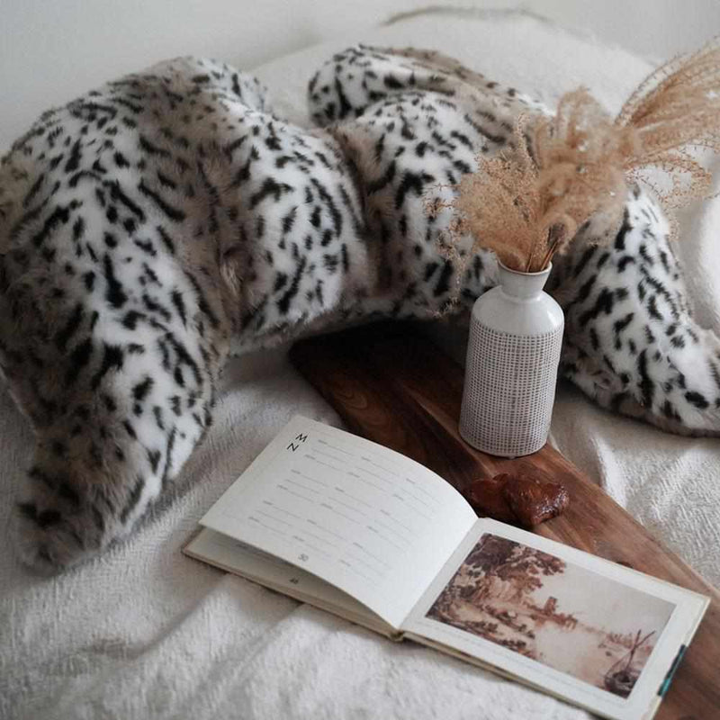 Joy Wings Pillow Snow Leopard - Faux Fur, Black, White & Cream