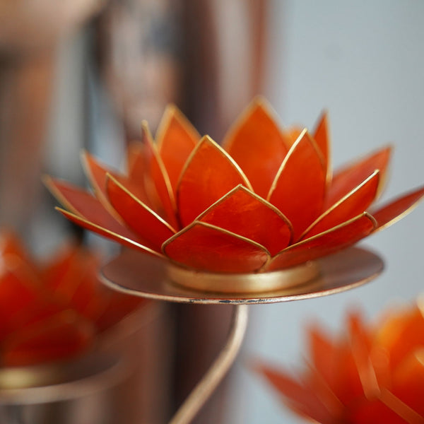Lotus Flower Candleholder Amber Orange