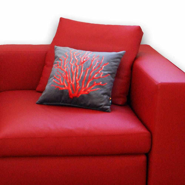 Coral Square Cushion - Red on Grey, 45 x 45 cm
