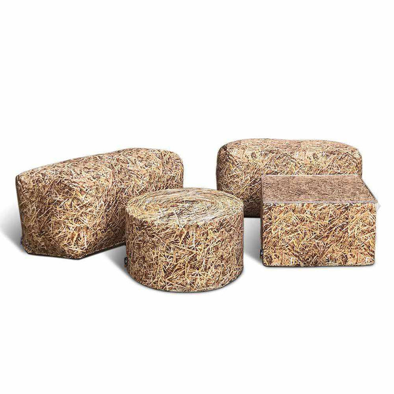 Straw Bale Ottoman Outdoor