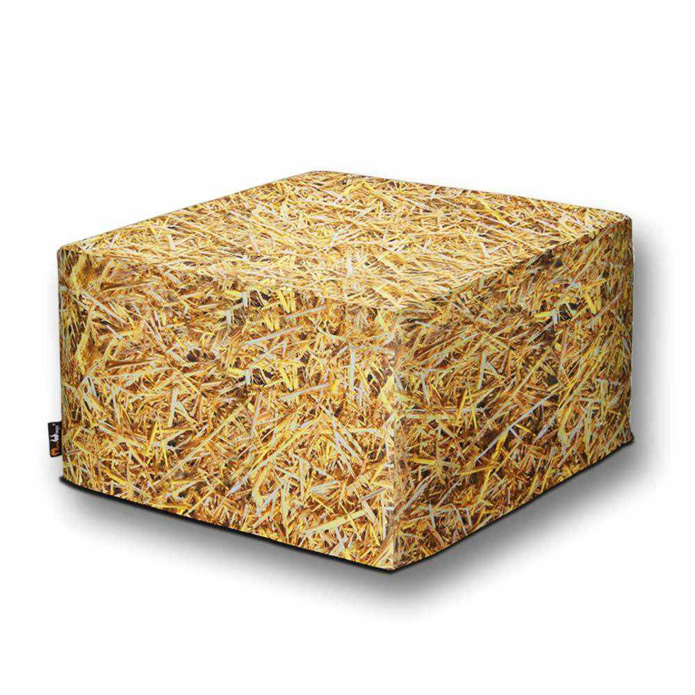 Straw Bale Square Ottoman Outdoor