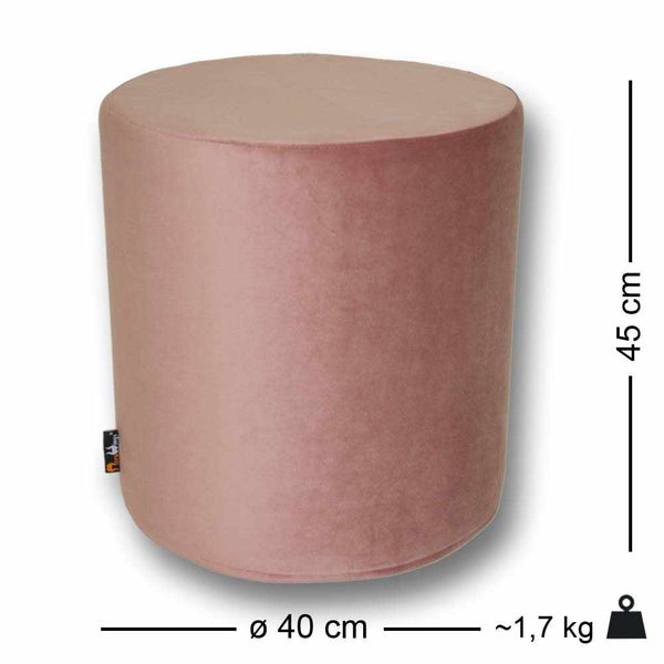 Luxury Velvet Seat Ottoman Dusty Rose