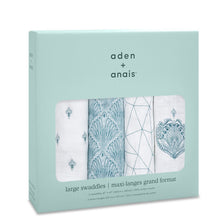 Load image into Gallery viewer, aden + anais paisley teal 4 pack swaddles