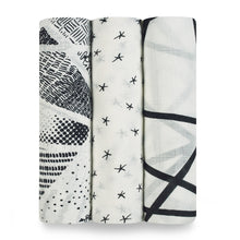 Load image into Gallery viewer, aden + anais midnight bamboo 3 pack muslin swaddles
