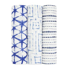 Load image into Gallery viewer, aden + anais indigo shibori 3 pack bamboo swaddles