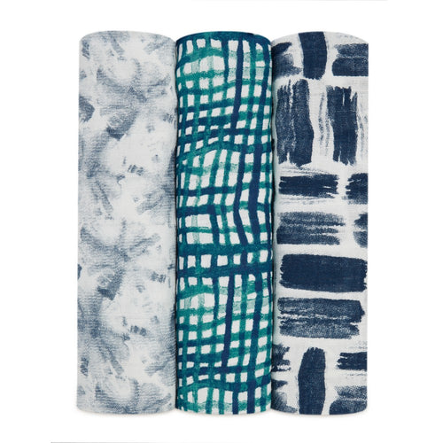 aden + anais seaport bamboo 3 pack muslin swaddles