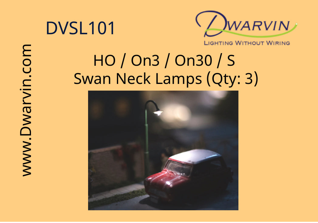 HO / On3 / On30 / S scale Swan Neck Lamps