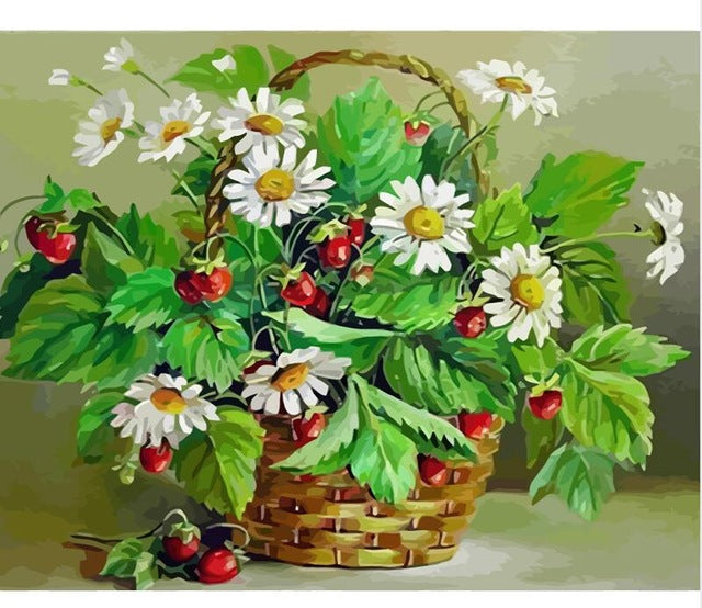 Wild strawberries in basket