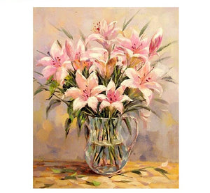 Pink Lily Flower - Just Paint By Numbers