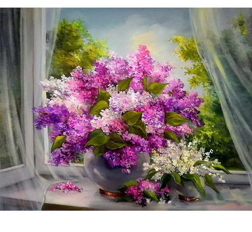 Purple Flowers - Just Paint By Numbers