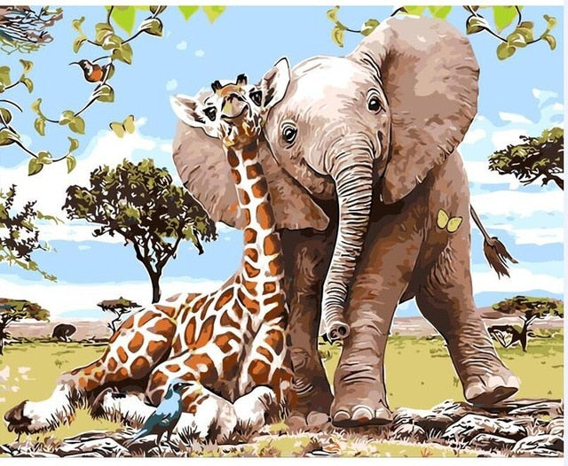 Elephant and Giraffe - Just Paint By Numbers