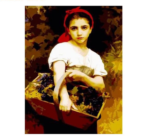Girl with basket - Just Paint By Numbers