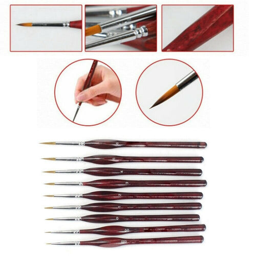 Professional Wooden Brushes - 9 pcs