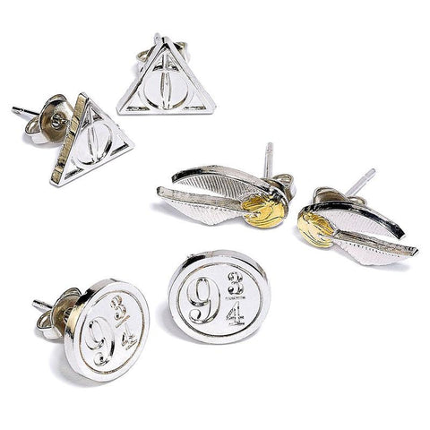 Conjunto de Brincos Deathly Hallows Golden Snitch Platform Harry Potter