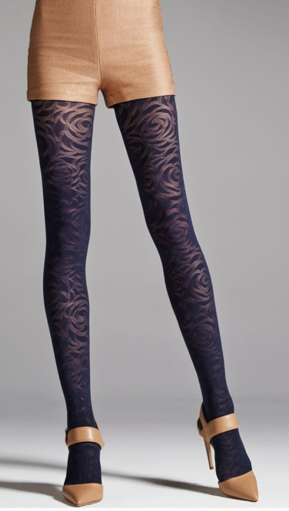 Omsa Clutch Collant - navy opaque fashion tights with a sheer abstract rose pattern, hygenic gusset, flat seams and deep comfort waist band.