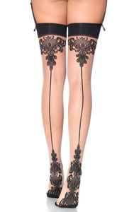 Leg Avenue 1109 Baroque cuban heel stocking - nude stockings with black top and floral backseam