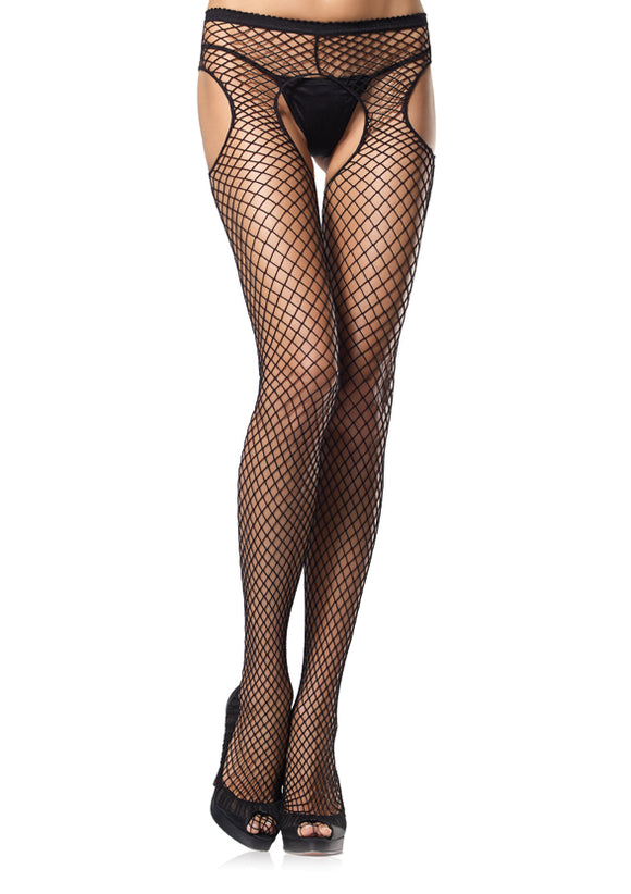 Leg Avenue 1405 Industrial Net Garterbelt Pantyhose - black open crotch fishnet tights