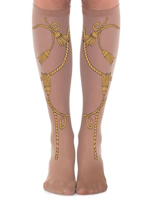 Zohara 20SL600-SO Clash Royal Socks Nude - sheer nude knee-high fashion socks with a mustard yellow rope and tassel print