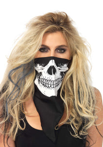 Leg Avenue 2141 Skull Bandana - black neck handkerchief with white skeleton print
