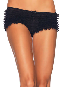 Leg Avenue 2985 Lace Ruffle Tanga Short - black frilly knickers boxer briefs