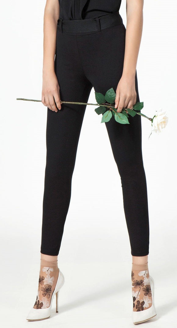 Omsa 3031 Special Leggings - High waisted trouser leggings with black ribbon. Available in blue and black.