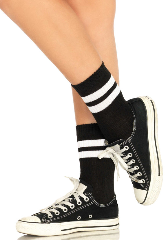 Leg Avenue 3038 Athletic striped anklet socks - black sports style ankle socks with white double stripe cuff